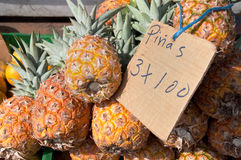Pineapples for Sale at Fruit Stand in Panama Royalty Free Stock Images