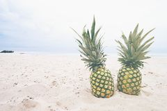 Pineapples on sand
