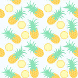 Pineapples. Seamless geometric pattern. Exotic fruits in water. Summer background. Sea waves. Vector illustration vector illustration