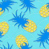 Pineapples. Seamless geometric pattern. Exotic fruits in water. Summer background. Sea waves. Vector illustration Royalty Free Stock Images