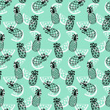Pineapples seamless pattern on mint background. Hand drawn wallpaper for your business. Good for invitation card, scrapbook, wrapping paper, website background Stock Images