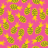 Pineapples seamless pattern. Tropic fruits background. Stock Photos