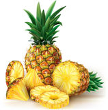 Pineapples with slices Royalty Free Stock Images