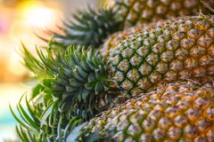 Pineapples stacked with blur background royalty free stock images