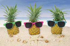 Pineapples with sunglasses on beach Royalty Free Stock Image