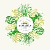 Pineapples and tropical leaves design template. Hand drawn vector tropical fruit illustration. Engraved style ananas fruit banner. Vintage botanical frame stock illustration