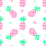 Pineapples on the white background. Vector seamless pattern with tropical fruit. Cute girl style, pink. Pineapples on the white background. Vector seamless Royalty Free Stock Photos