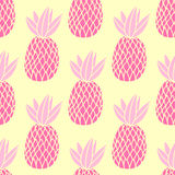 Pineapples on the white background. Vector seamless pattern with tropical fruit. Cute girl style, pink and yellow Stock Images