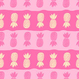 Pineapples on the white background. Vector seamless pattern tropical fruit. Cute girl style, pink and yellow with Stock Photos