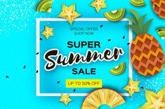 Pineappple, карамбола, киви Знамя ананаса и продажи лета starfruit супер в стиле отрезка бумаги Куски Origami сочные зрелые Стоковое фото RF