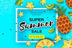 Pineappple, carambola, kiwi. Ananas and starfruit Super Summer Sale Banner in paper cut style. Origami juicy ripe slices Royalty Free Stock Photo