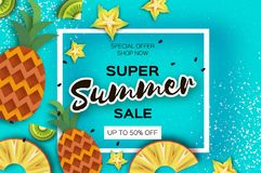 Pineappple, carambola, kiwi. Ananas and starfruit Super Summer Sale Banner in paper cut style. Origami juicy ripe slices Royalty Free Stock Photos
