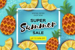 Pineappple. Top view. Ananas Super Summer Sale Banner in paper cut style. Origami juicy ripe slices. Healthy food on Royalty Free Stock Photo