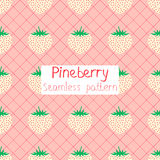 Pineberry seamless pattern. Pineberry pattern on a pink square background Royalty Free Stock Image
