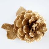Pinecone и листовое золото золота рождество украшает идеи украшения свежие домашние к белизна изолированная предпосылкой стоковые изображения rf
