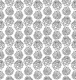 Pinecone black and white seamless pattern isolated on white Royalty Free Stock Photos
