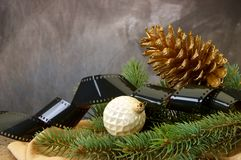 Pinecone, Christmas bulbs, pine branches Stock Photos