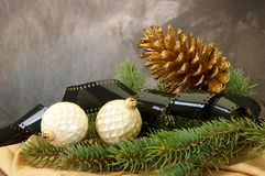Pinecone, Christmas Bulbs, Pine Branches Royalty Free Stock Images