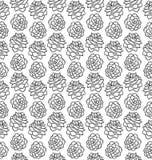 Pinecone czarny i biały bezszwowy wzór odizolowywający na bielu Zdjęcia Royalty Free