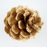 Pinecone d'or Décoration d'or de Noël D'isolement sur le fond blanc image libre de droits
