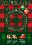 Pinecone de la tarjeta de las vacaciones de invierno de la Navidad guirnalda del árbol, bayas, de abeto rústicos de la Navidad y  imagenes de archivo