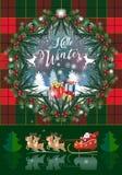 Pinecone de la tarjeta de las vacaciones de invierno de la Navidad guirnalda del árbol, bayas, de abeto rústicos de la Navidad y  foto de archivo