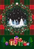 Pinecone de la tarjeta de las vacaciones de invierno de la Navidad guirnalda del árbol, bayas, de abeto rústicos de la Navidad y  imagen de archivo