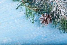 Pinecone e ramo del pino Nell'angolo del telaio Su un fondo di legno innevato Fotografie Stock Libere da Diritti