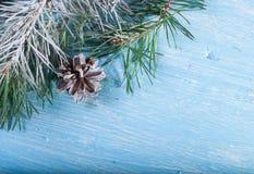 Pinecone e ramo del pino Nell'angolo del telaio Su un fondo di legno innevato Immagini Stock Libere da Diritti
