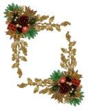 Pinecone elegante de la frontera de la Navidad Imagen de archivo