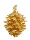 pinecone för julgarneringguld Arkivfoton