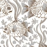 Pinecone fish pattern. Colorful pinecone fish seamless pattern in vector format Stock Photos