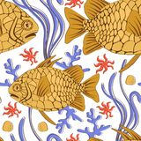 Pinecone fish pattern. Colorful pinecone fish seamless pattern in vector format Stock Images