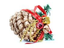 pinecone odosobniony biel obrazy stock
