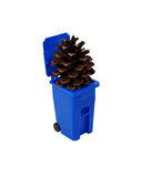 Pinecone and recycling bin Royalty Free Stock Photos