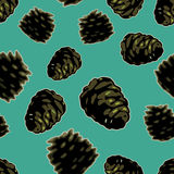Pinecone vector seamless. Royalty Free Stock Images