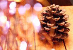 Pinecone on wooden board Royalty Free Stock Photos