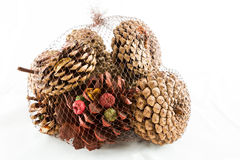 Pinecones in a bag Royalty Free Stock Photography