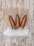 Pinecones with burlap textile on the old wood. Three pinecones with burlap textile on the old wood background stock photography