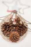 Pinecones in a christmas basket Stock Images