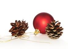 Pinecones com esfera vermelha fotografia de stock royalty free