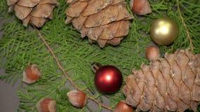 Pinecones et babioles Rotationg sur des branches d'arbre de sapin Fond de Cristmas clips vidéos