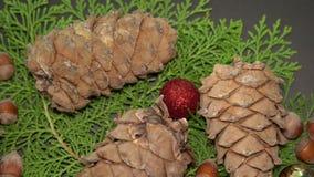 Pinecones et babioles Rotationg sur des branches d'arbre de sapin Fond de Cristmas banque de vidéos