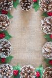 Pinecones, jagody i holly liście na nieociosanym tkaniny tła mieszkaniu nieatutowym, zdjęcie royalty free