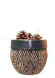 Pinecones in A Woven Basket. Pinecones in a fancy woven brown basket on a white background Royalty Free Stock Images