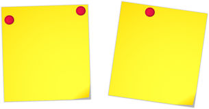 Pined notes. Yellow notes pined to the background with red pushpins and slightly folded on one corner Stock Photos