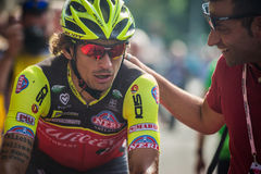 Pinerolo, Италия 26-ое мая 2016; Филиппо Pozzato после отделки этапа Стоковое фото RF