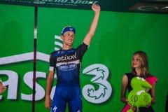 Pinerolo, Italie le 26 mai 2016 ; Matteo Trentin sur le podium après gain de l'étape Photographie stock libre de droits