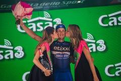 Pinerolo, Italie le 26 mai 2016 ; Matteo Trentin sur le podium après gain de l'étape Images libres de droits