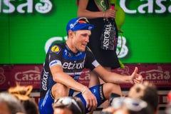 Pinerolo, Italie le 26 mai 2016 ; Matteo Trentin sur le podium après gain de l'étape Photos stock